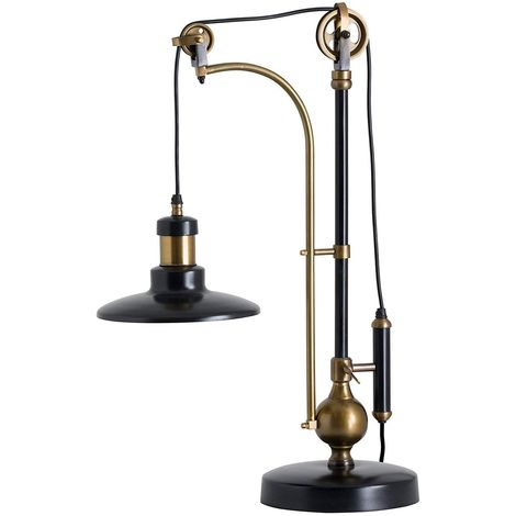 Hill Interiors Hudson Adjustable Table Lamp (UK Plug) (One Size) (Black/Gold)