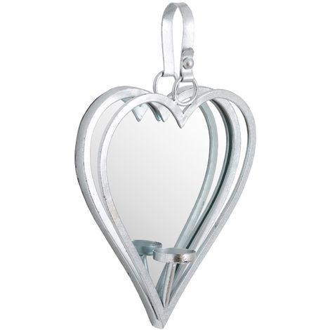 Hill Interiors Large Mirrored Heart Candle Holder
