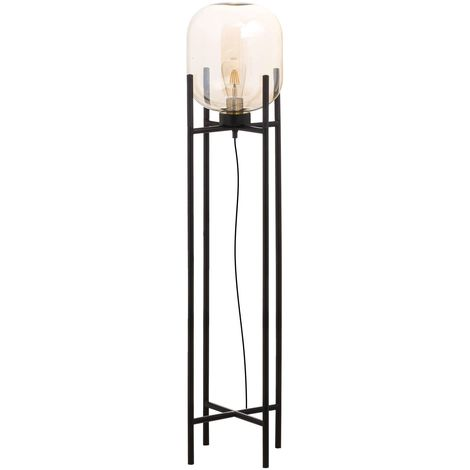 Hill Interiors Large Vintage Industrial Glass Glow Lamp (UK Plug) (One Size) (Black)