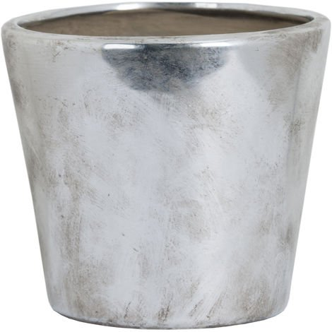 Hill Interiors Metallic Ceramic Planter (Medium) (Silver)