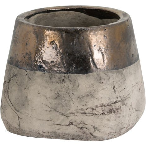Hill Interiors Metallic Dipped Large Planter (One Size) (Gold/Stone)