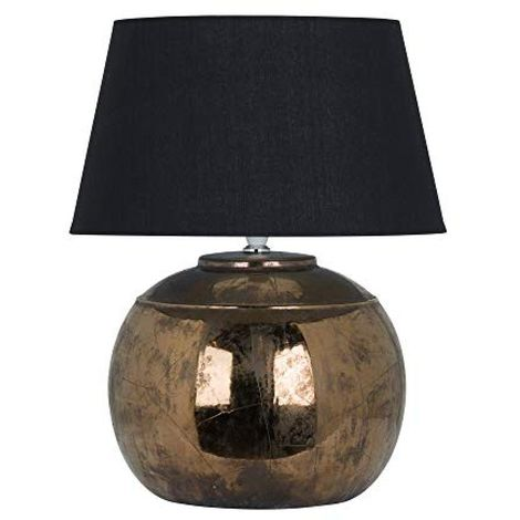 Hill Interiors Regola Metallic Ceramic Table Lamp (UK Plug) (40 x 35 x 35cm) (Bronze/Black)