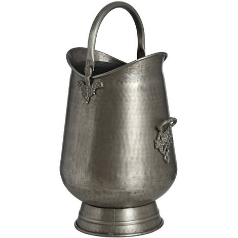 Hill Interiors Traditional Antique Pewter Metal Coal/Log Bucket (One Size) (Silver)