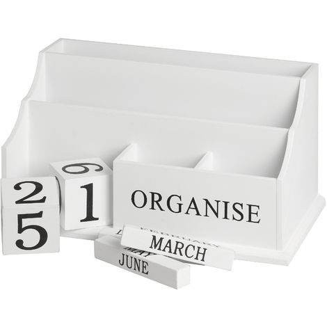 Hill Interiors Wooden Organise Desktop Organiser (White/Grey)