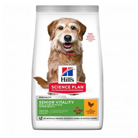 Hill's Science Plan Senior Vitality alimento para perros mayores 7+ de razas Small & Mini con pollo y arroz Saco de 1,5 Kg