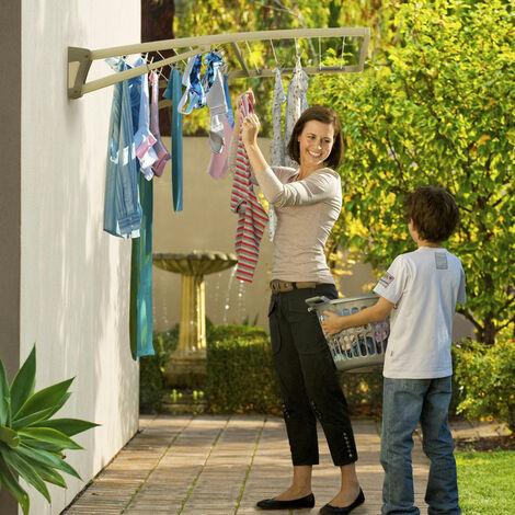 "main image of ""Hills Supa Fold Duo Wall Mounted Folding Clothes Washing Line - Pebble Beach Beige"""
