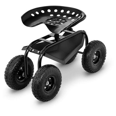 Hillvert Siège de jardinage Tabouret de jardin à roulettes 4 grandes roues