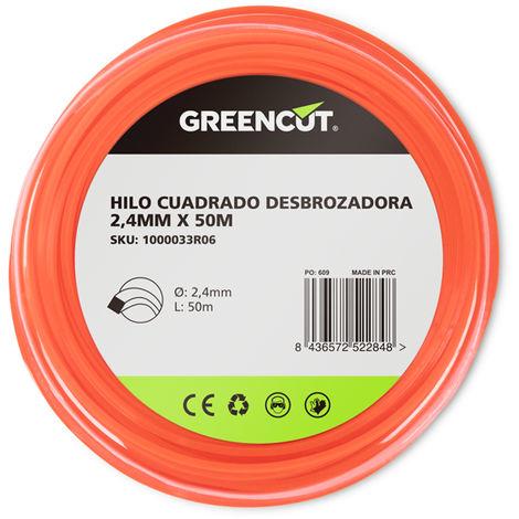 HILO CUADRADO 2,4MM x 50M DESBROZADORA -RECAMBIO GREENCUT