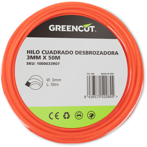 HILO CUADRADO 3,0MM x 50M DESBROZADORA -RECAMBIO GREENCUT