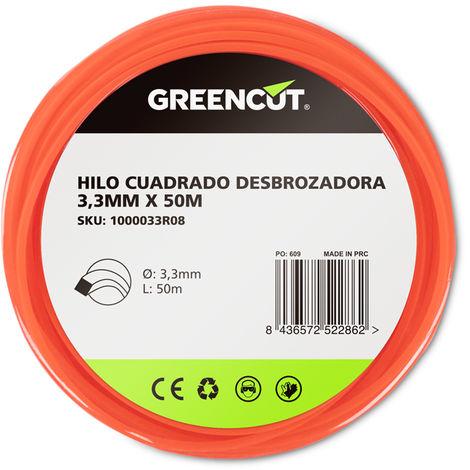 HILO CUADRADO 3,3MM x 50M DESBROZADORA -RECAMBIO GREENCUT