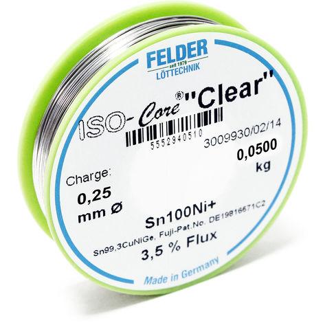 """Hilo de soldadura Felder ISO-Core Estaño """"Clear"""" 0.25mm 0.05kg Sn100Ni+ Sn99,3CuNiGe"""