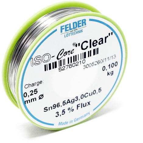 "Hilo de soldadura Felder ISO-Core Estaño ""Clear"" 0.25mm 0.1kg SAC305 Sn96.5Ag3Cu0.5"
