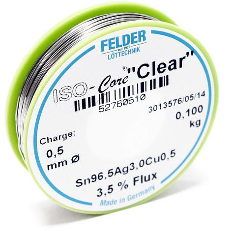 "Hilo de soldadura Felder ISO-Core Estaño ""Clear"" 0.5mm 0.1kg SAC305 Sn96.5Ag3Cu0.5"