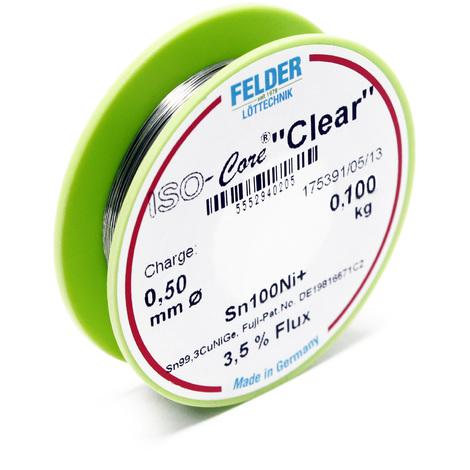 """Hilo de soldadura Felder ISO-Core Estaño """"Clear"""" 0.5mm 0.1kg Sn100Ni+ Sn99,3CuNiGe"""