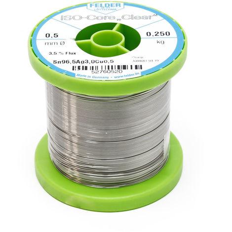 "Hilo de soldadura Felder ISO-Core Estaño ""Clear"" 0.5mm 0.25kg SAC305 Sn96.5Ag3Cu0.5"