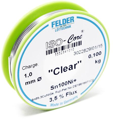 """Hilo de soldadura Felder ISO-Core Estaño """"Clear"""" 1.0mm 0.1kg Sn100Ni+ Sn99,3CuNiGe"""