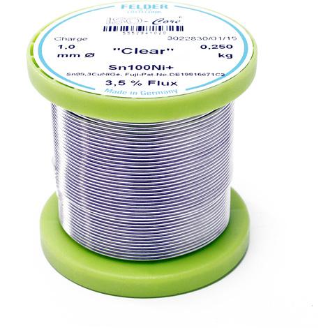 """Hilo de soldadura Felder ISO-Core Estaño """"Clear"""" 1.0mm 0.25kg Sn100Ni+ Sn99,3CuNiGe"""