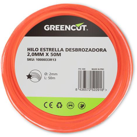 HILO ESTRELLA 2,0MM x 50M DESBROZADORA -RECAMBIO GREENCUT
