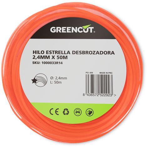 HILO ESTRELLA 2,4MM x 50M DESBROZADORA -RECAMBIO GREENCUT