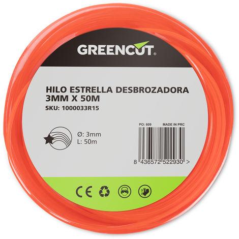 HILO ESTRELLA 3,0MM x 50M DESBROZADORA -RECAMBIO GREENCUT