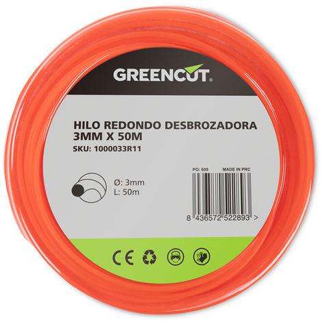 HILO REDONDO 3,0MM x 50M DESBROZADORA -RECAMBIO GREENCUT