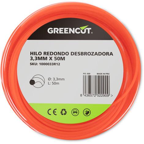 HILO REDONDO 3,3MM x 50M DESBROZADORA -RECAMBIO GREENCUT