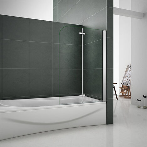 "main image of ""2 Fold EasyClean Shower Bath Screen,900| 1000| 1200x1400mm Chrome 180 degrees Hinge"""