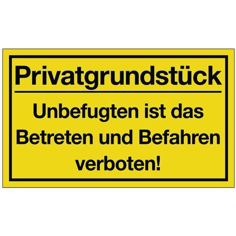 Hinweiszeichen Privatgrundstück L400xB250mm Kunststoff schwarz/gelb