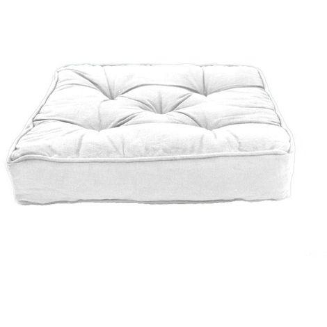 HIP HOP - Pouf tapissier 100% coton blanc 40x40