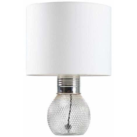 Hiram Mesh Table Lamp In Chrome + LED Bulb