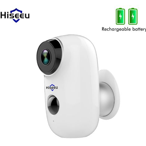 Hiseeu Batería inalámbrica recargable CCTV Wifi IP Cámara al aire libre IP65 Cámara de seguridad para el hogar a prueba de agua PIR Alarma de movimiento Sasicare