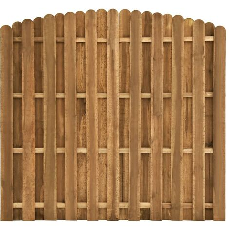 Hit and Miss Fence Panel Pinewood 180x(155-170) cm - Brown
