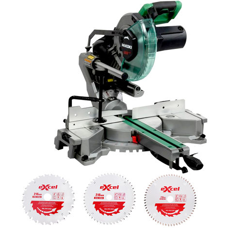 Hitachi HiKOKI C8FSHGJ2Z Slide Compound Mitre Saw 216mm 110V With 3 Blades