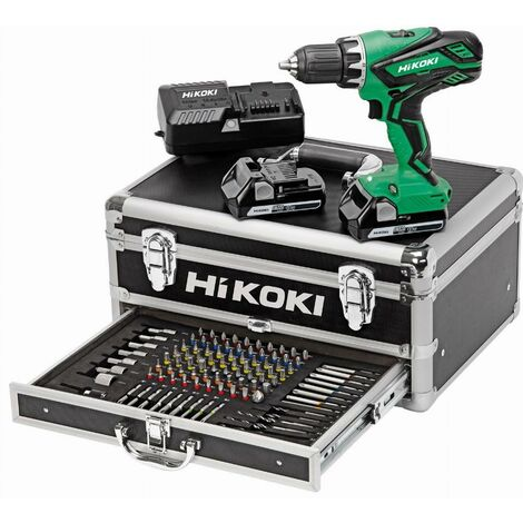HITACHI - Kit Valigetta Trapano Avvitatore 18V 2.5Ah (2 batterie + caricabatteria + accessori) - KC18DJLF