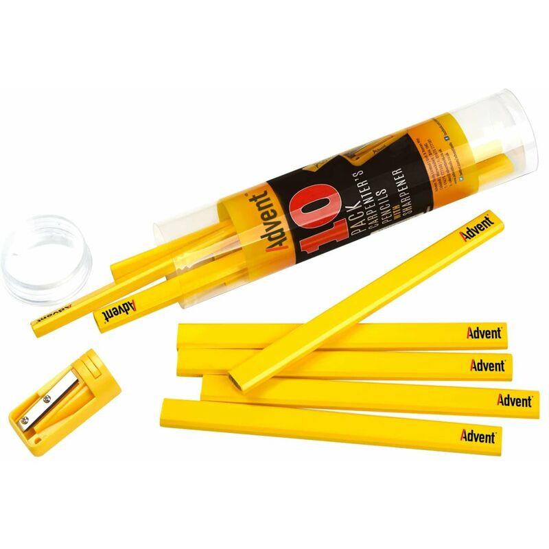 Image of Advent 10 Carpenter's Pencils + Sharpener Medium Grade ADVACPTUB10 XMS18PENCILS