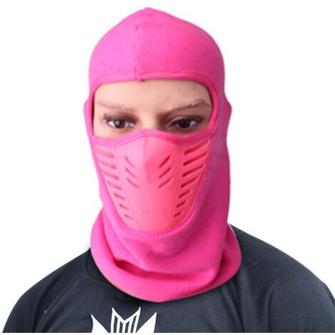 Hiver Chaud Moto Coupe-Vent Visage Masque Chapeau Cou Casque Bonnets Pour Homme Femme Sport Chapeaux, Rose Rouge