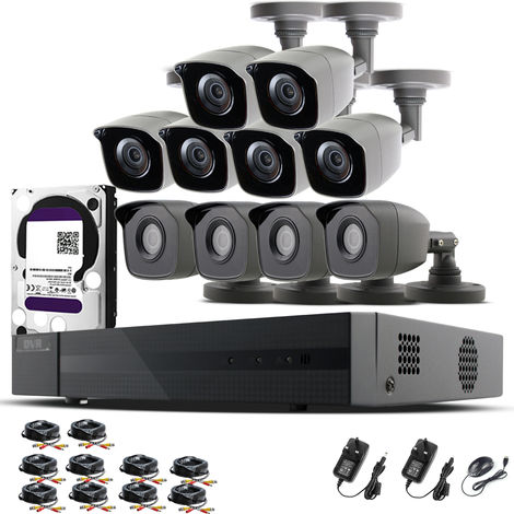 HIZONE PRO 1080P CCTV KIT SECURITY SYSTEM 16CH DVR & 10 X 2MP FULL HD METAL HOUSING IP66 WATERPROOF INDOOR OUTDOOR Gray BULLET 2.8mm WIDE ANGLE CAMERAS 20M IR NIGHT VISION EASY P2P REMOTE VIEW MOTION DETECTION UK SELLER-different size HDD available