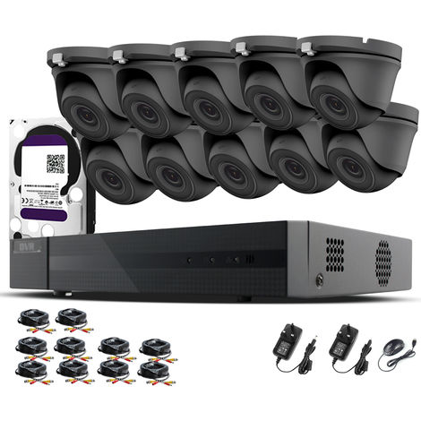 HIZONE PRO 1080P CCTV KIT SECURITY SYSTEM 16CH DVR & 10 X 2MP FULL HD METAL HOUSING IP66 WATERPROOF INDOOR OUTDOOR Gray Dome 3.6mm WIDE ANGLE CAMERAS 20M IR NIGHT VISION EASY P2P REMOTE VIEW MOTION DETECTION UK SELLER- 1TB HDD PRE-INSTALLED