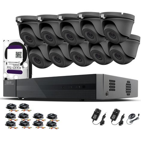 HIZONE PRO 1080P CCTV KIT SECURITY SYSTEM 16CH DVR & 10 X 2MP FULL HD METAL HOUSING IP66 WATERPROOF INDOOR OUTDOOR Gray Dome 3.6mm WIDE ANGLE CAMERAS 20M IR NIGHT VISION EASY P2P REMOTE VIEW MOTION DETECTION UK SELLER- 6TB HDD PRE-INSTALLED