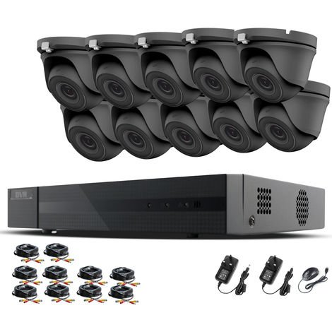 HIZONE PRO 1080P CCTV KIT SECURITY SYSTEM 16CH DVR & 10 X 2MP FULL HD METAL HOUSING IP66 WATERPROOF INDOOR OUTDOOR Gray Dome 3.6mm WIDE ANGLE CAMERAS 20M IR NIGHT VISION EASY P2P REMOTE VIEW MOTION DETECTION UK SELLER- NO HDD PRE-INSTALLED