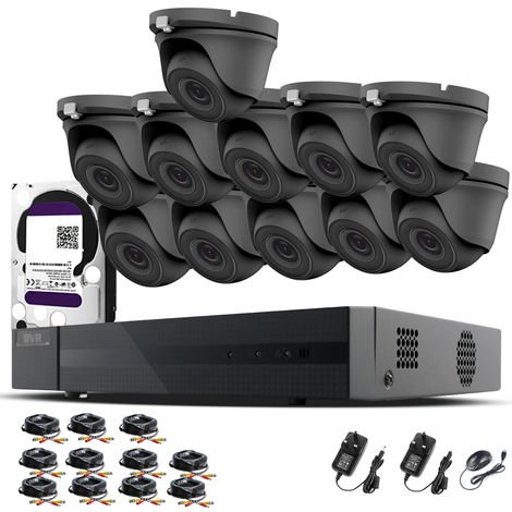 HIZONE PRO 1080P CCTV KIT SECURITY SYSTEM 16CH DVR & 11 X 2MP FULL HD METAL HOUSING IP66 WATERPROOF INDOOR OUTDOOR Gray Dome 3.6mm WIDE ANGLE CAMERAS 20M IR NIGHT VISION EASY P2P REMOTE VIEW MOTION DETECTION UK SELLER- 4TB HDD PRE-INSTALLED