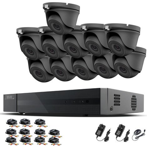 HIZONE PRO 1080P CCTV KIT SECURITY SYSTEM 16CH DVR & 11 X 2MP FULL HD METAL HOUSING IP66 WATERPROOF INDOOR OUTDOOR Gray Dome 3.6mm WIDE ANGLE CAMERAS 20M IR NIGHT VISION EASY P2P REMOTE VIEW MOTION DETECTION UK SELLER- NO HDD PRE-INSTALLED