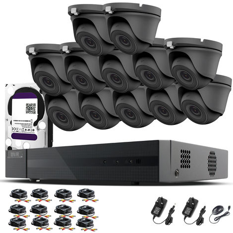 HIZONE PRO 1080P CCTV KIT SECURITY SYSTEM 16CH DVR & 12 X 2MP FULL HD METAL HOUSING IP66 WATERPROOF INDOOR OUTDOOR Gray Dome 3.6mm WIDE ANGLE CAMERAS 20M IR NIGHT VISION EASY P2P REMOTE VIEW MOTION DETECTION UK SELLER- 4TB HDD PRE-INSTALLED