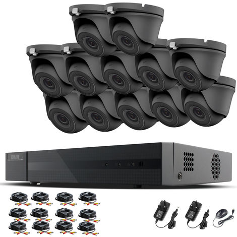 HIZONE PRO 1080P CCTV KIT SECURITY SYSTEM 16CH DVR & 12 X 2MP FULL HD METAL HOUSING IP66 WATERPROOF INDOOR OUTDOOR Gray Dome 3.6mm WIDE ANGLE CAMERAS 20M IR NIGHT VISION EASY P2P REMOTE VIEW MOTION DETECTION UK SELLER- NO HDD PRE-INSTALLED