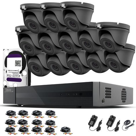 HIZONE PRO 1080P CCTV KIT SECURITY SYSTEM 16CH DVR & 13 X 2MP FULL HD METAL HOUSING IP66 WATERPROOF INDOOR OUTDOOR Gray Dome 2.8mm WIDE ANGLE CAMERAS 20M IR NIGHT VISION EASY P2P REMOTE VIEW MOTION DETECTION UK SELLER- 1TB HDD PRE-INSTALLED