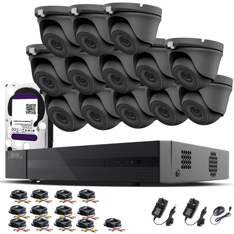 HIZONE PRO 1080P CCTV KIT SECURITY SYSTEM 16CH DVR & 13 X 2MP FULL HD METAL HOUSING IP66 WATERPROOF INDOOR OUTDOOR Gray Dome 2.8mm WIDE ANGLE CAMERAS 20M IR NIGHT VISION EASY P2P REMOTE VIEW MOTION DETECTION UK SELLER- 4TB HDD PRE-INSTALLED