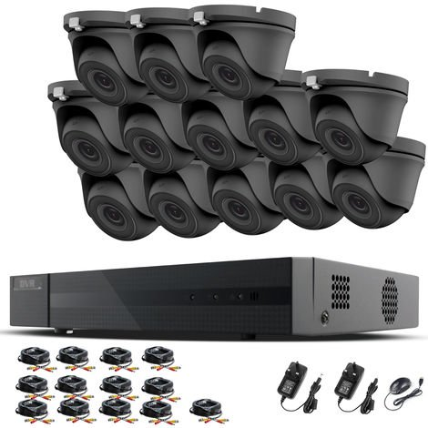 HIZONE PRO 1080P CCTV KIT SECURITY SYSTEM 16CH DVR & 13 X 2MP FULL HD METAL HOUSING IP66 WATERPROOF INDOOR OUTDOOR Gray Dome 3.6mm WIDE ANGLE CAMERAS 20M IR NIGHT VISION EASY P2P REMOTE VIEW MOTION DETECTION UK SELLER- NO HDD PRE-INSTALLED