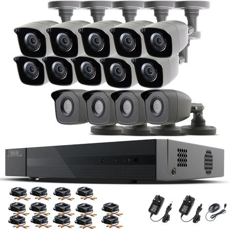 HIZONE PRO 1080P CCTV KIT SECURITY SYSTEM 16CH DVR & 14 X 2MP FULL HD METAL HOUSING IP66 WATERPROOF INDOOR OUTDOOR Gray BULLET 2.8mm WIDE ANGLE CAMERAS 20M IR NIGHT VISION EASY P2P REMOTE VIEW MOTION DETECTION UK SELLER-different size HDD available