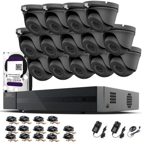 HIZONE PRO 1080P CCTV KIT SECURITY SYSTEM 16CH DVR & 14 X 2MP FULL HD METAL HOUSING IP66 WATERPROOF INDOOR OUTDOOR Gray Dome 2.8mm WIDE ANGLE CAMERAS 20M IR NIGHT VISION EASY P2P REMOTE VIEW MOTION DETECTION UK SELLER- 6TB HDD PRE-INSTALLED