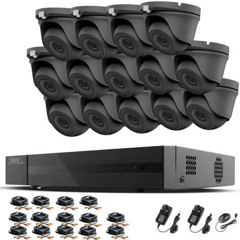 HIZONE PRO 1080P CCTV KIT SECURITY SYSTEM 16CH DVR & 14 X 2MP FULL HD METAL HOUSING IP66 WATERPROOF INDOOR OUTDOOR Gray Dome 2.8mm WIDE ANGLE CAMERAS 20M IR NIGHT VISION EASY P2P REMOTE VIEW MOTION DETECTION UK SELLER- NO HDD PRE-INSTALLED